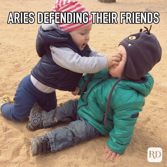 Aries Defending Their Friends meme text on image of children fighting