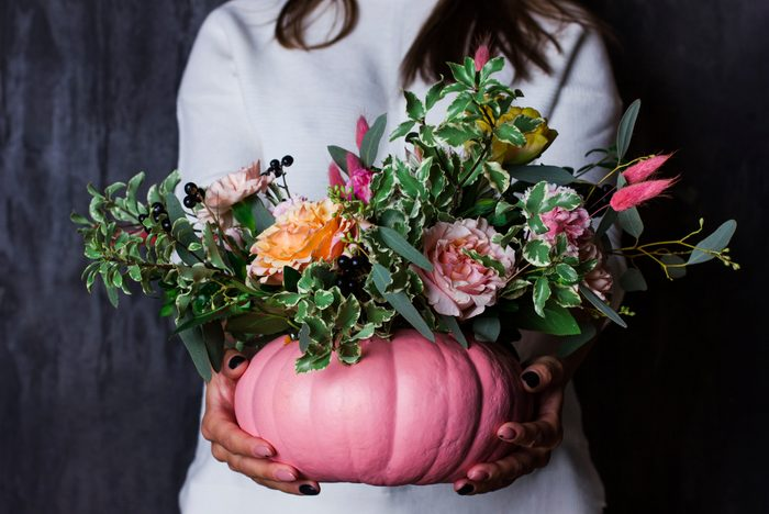 Autumn Floral Bouquet In a pink Pumpkin