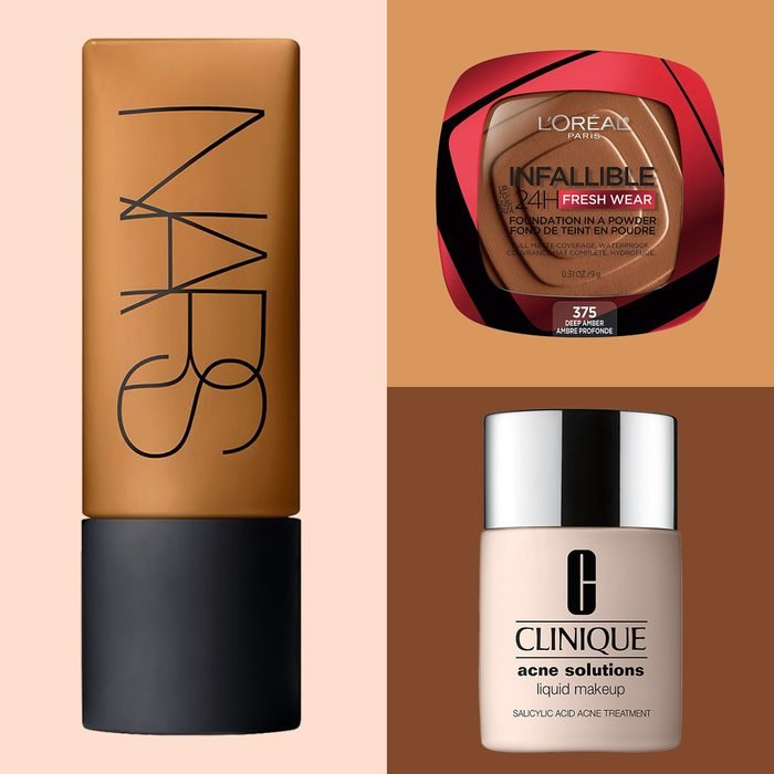 Best Foundations For Your Skin Type Products on color block background