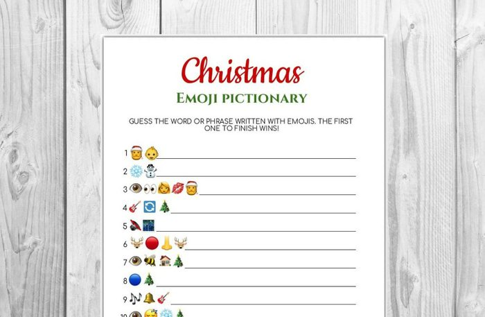 Christmas emoji Pictionary game