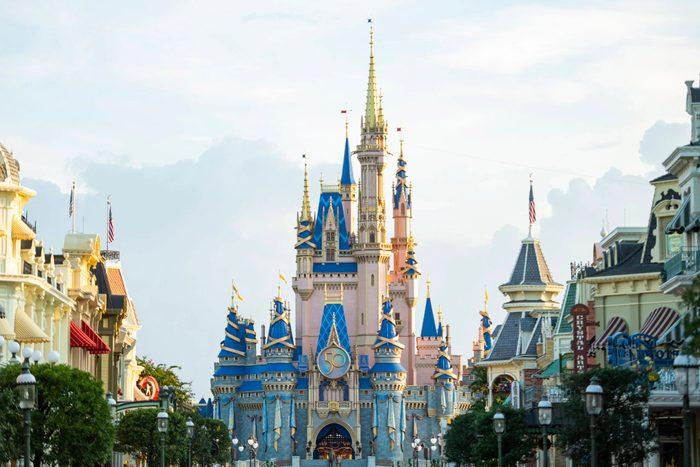 A new crest honoring the 50th anniversary of Walt Disney World Resort adorns Cinderella Castle at Magic Kingdom Park in Lake Buena Vista, Fla.