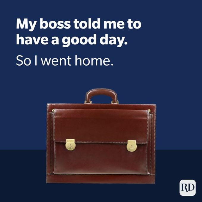 Dark Humor - Picture of Briefcase With Boss Joke