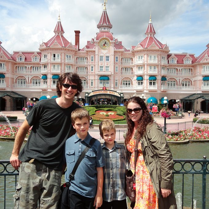Heather Sievers and family at Disneyland Park
