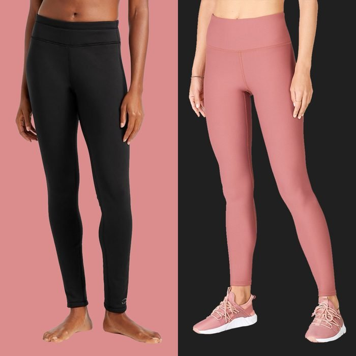 two models wearing fleece lined leggings on colored backgrounds