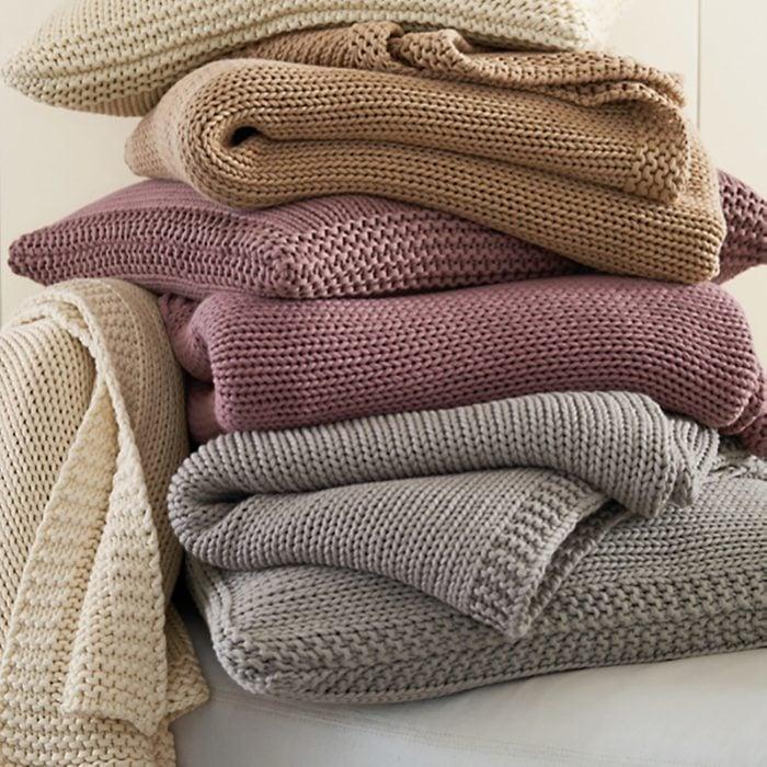 Garnet Hill Cotton Chunky-Knit Throw blanket