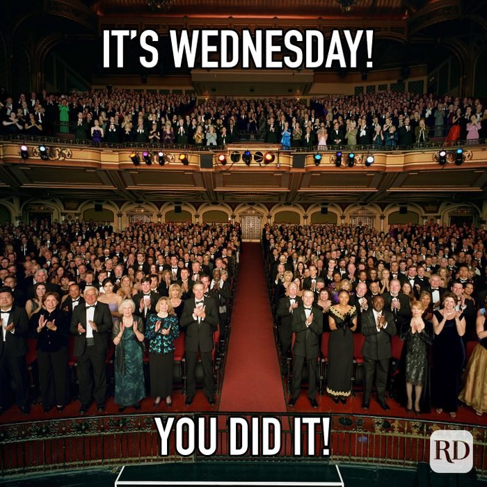 Its Wednesday You Did It meme text over image of a standing ovation