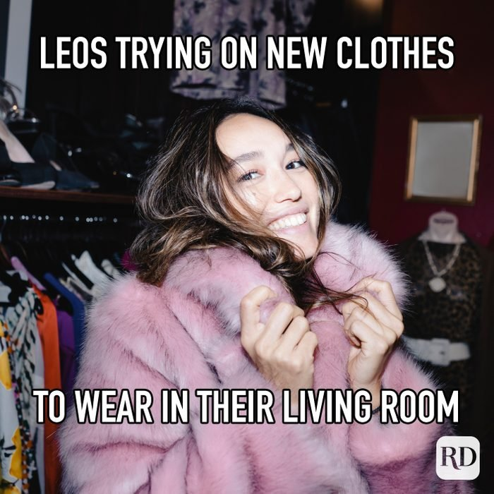 Leos Trying On New Clothes To Wear In Their Living Room meme text