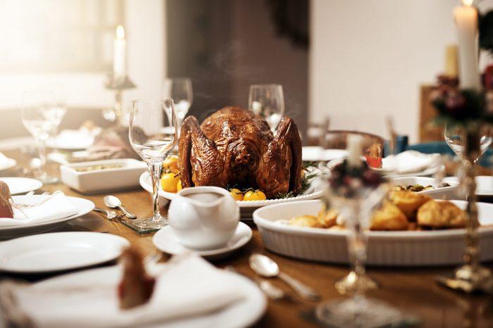 thanksgiving turkey on dining room table