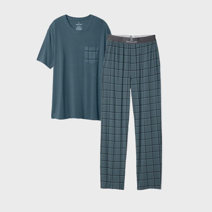 Men's Second Skin Windowpane Pajama Pocket Tee & Pant Pack