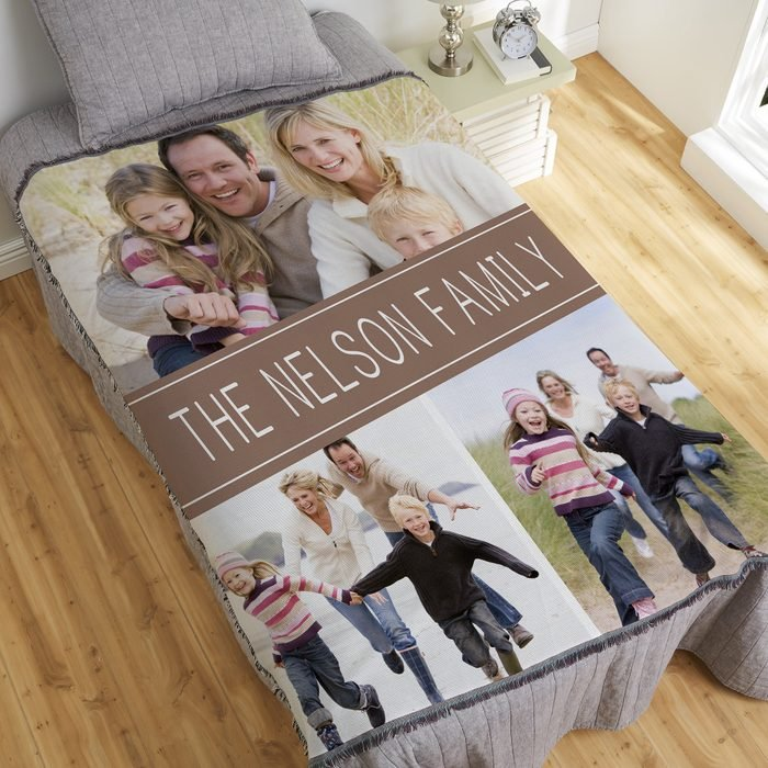 Personalization Mall Family Photo Collage Personalized Woven Throw Blanket