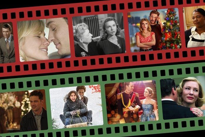Romantic Christmas Movie stills in film strip frames