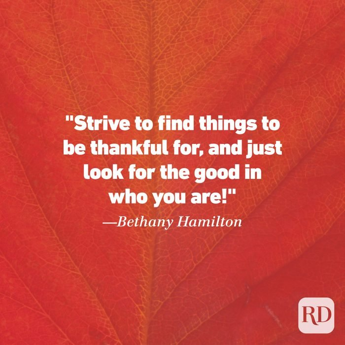 Thanksgiving Quote by Bethany Hamilton