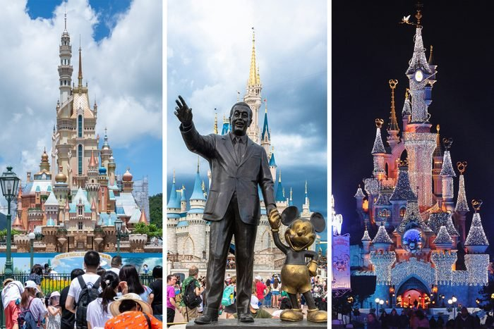 Three Different Disney Parks Side By Side Gettyimages