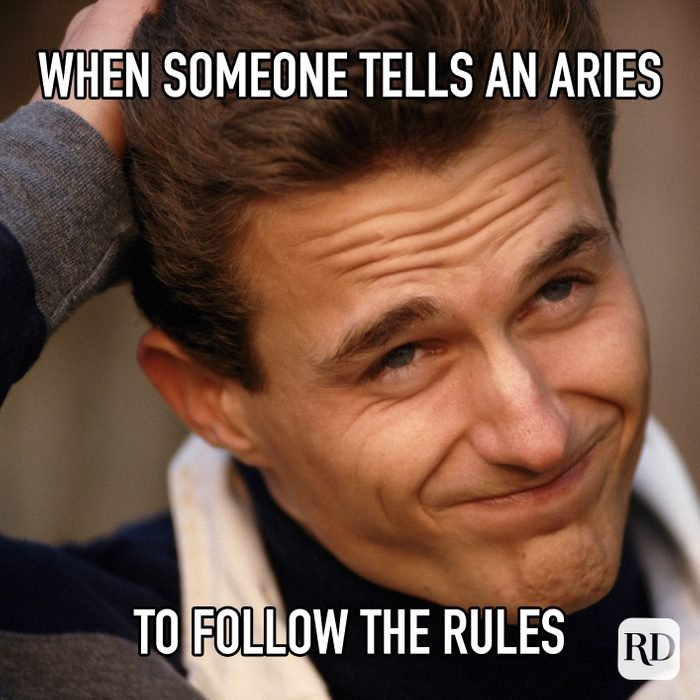 When Someone Tells An Aries To Follow The Rules meme text on image of man looking skeptical