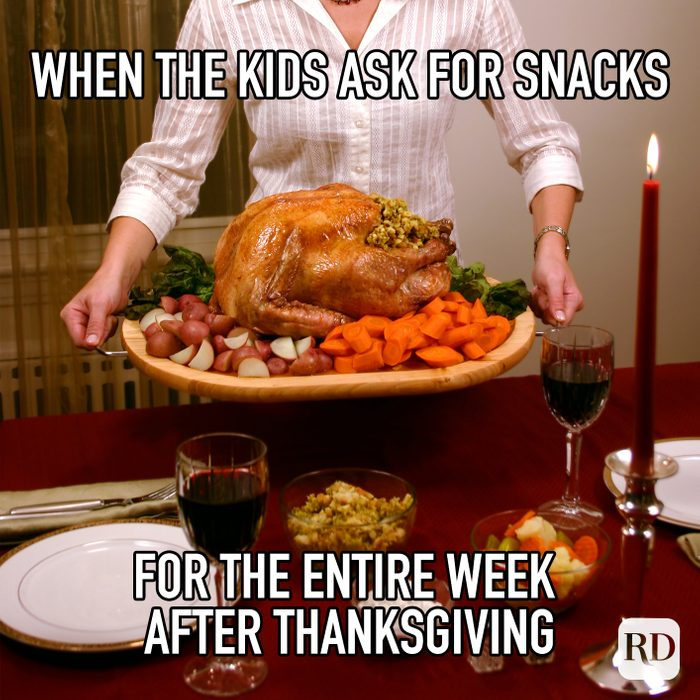 When The Kids Ask For Snacks For The Entire Week After Thanksgiving meme text over image of massive thanksgiving dinner