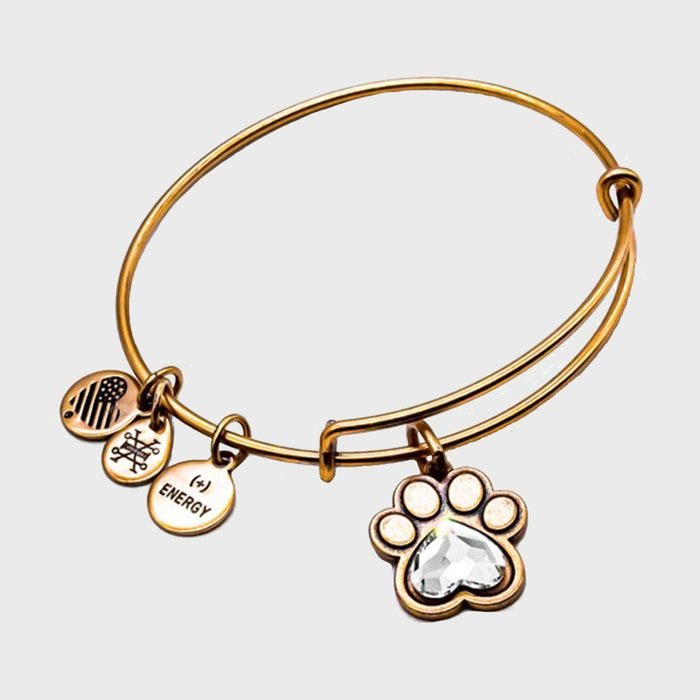 Alex And Ani Rose Gold Paw Prints Of Love Gemstone Charm Bangle Bracelet