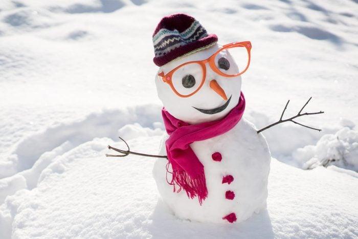 Winter snowman on snow