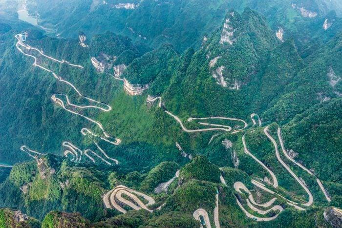 Heaven Linking Avenue of 99 curves at winding Road to The Heaven Gate Zhangjiajie Tianmen Mountain National Park Hunan China