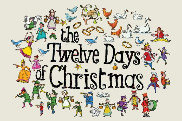 text that reads, the twelve days of christmas, surrounded by illustrations that represent the gifts from every verse of the song