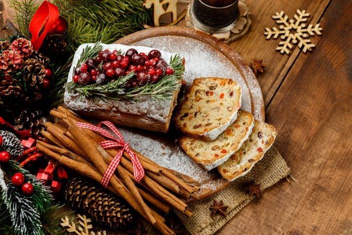 Homemade christmas cake with wild berries