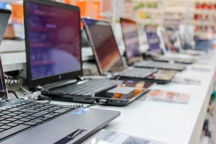 Laptops On Table In Store