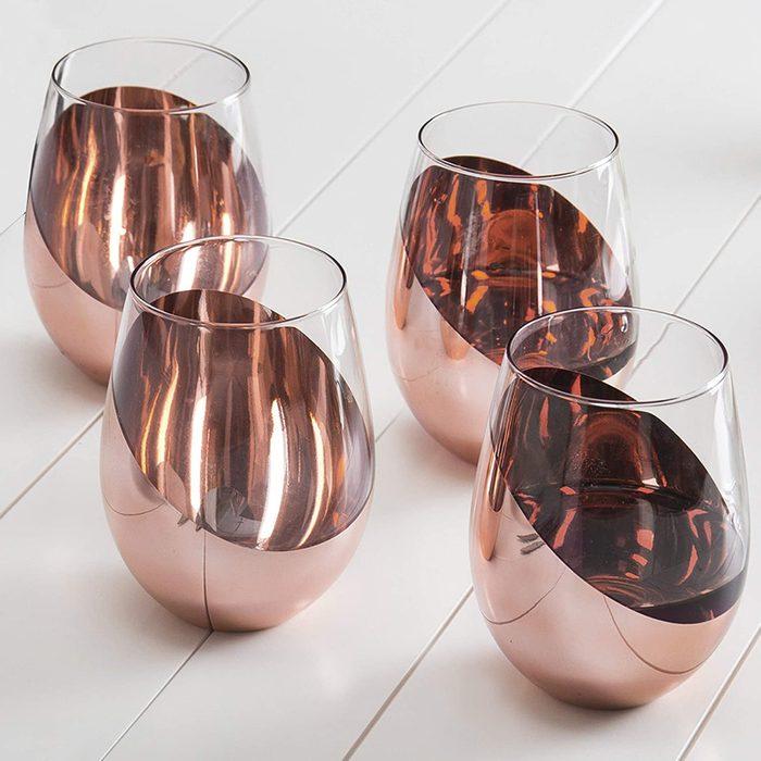 Mygift Copper Stemless Wine Glasses Via Amazon