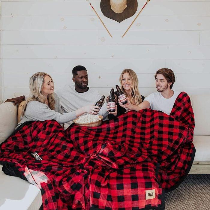 Big Blanket Co. Original Stretch Red Plaid Blanket