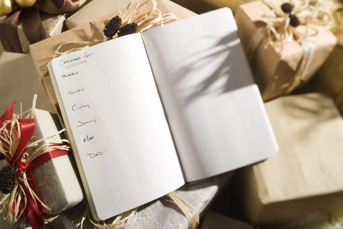 list of names written in book for christmas gift list