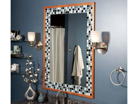 a tile or wood frame adds style to a plain mirror any tile will work we used a mosaic glass tile apply the tile to the wall using mastic adhesive