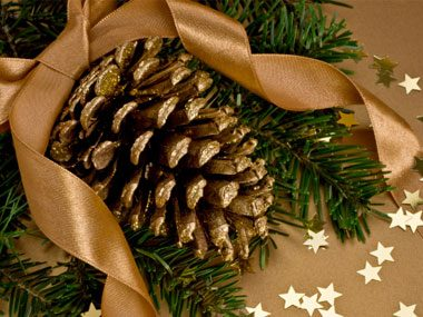 dip pinecones in gold paint either partially or all of the way or use a mixture of water glue and glitter for a sparkling effect - Cheap Christmas Decorations