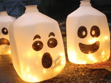 ghostly lanterns spoonfulcom these diy halloween decorations - Homemade Halloween Party Decorations