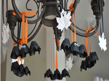 hanging bats and ghosts - Bat Halloween Decorations