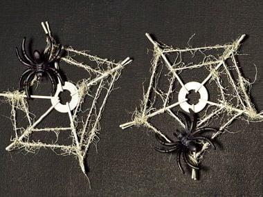 cobweb coasters - Homemade Decorations