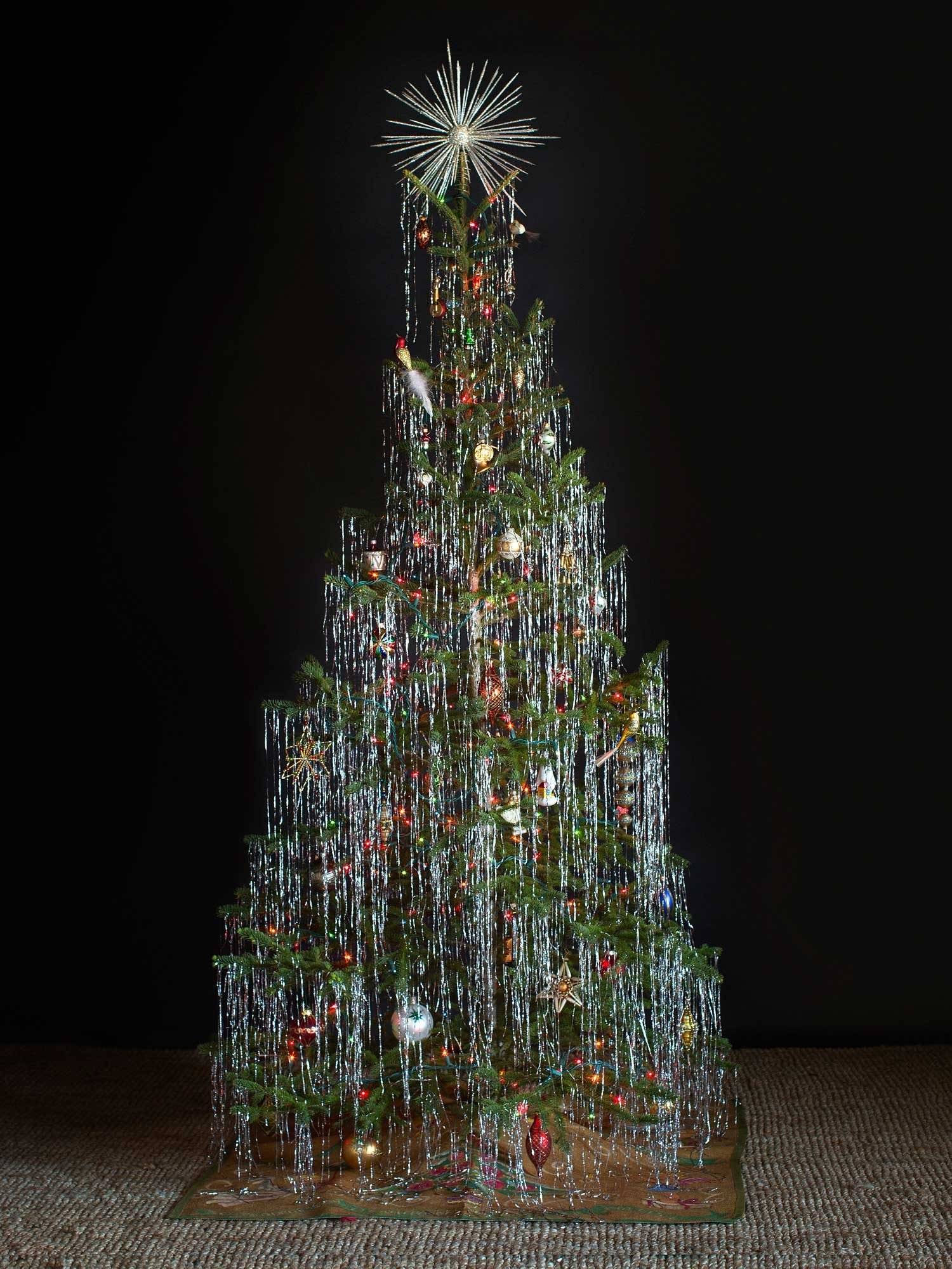 Christmas tree decorated with tinsel - Shimmering Tinsel Tree