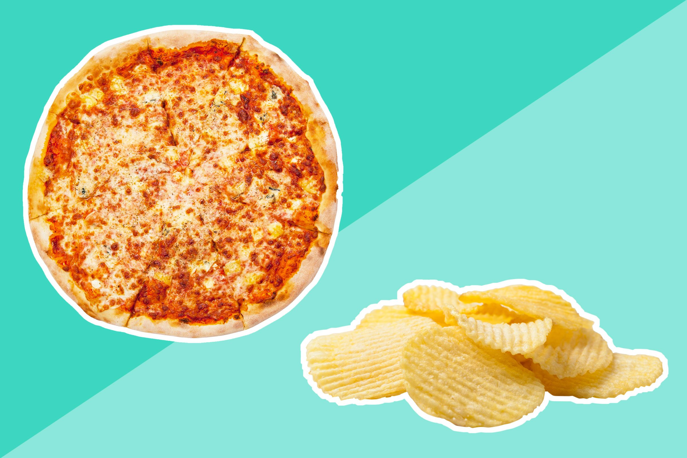 Chips, pizza, and other junk food