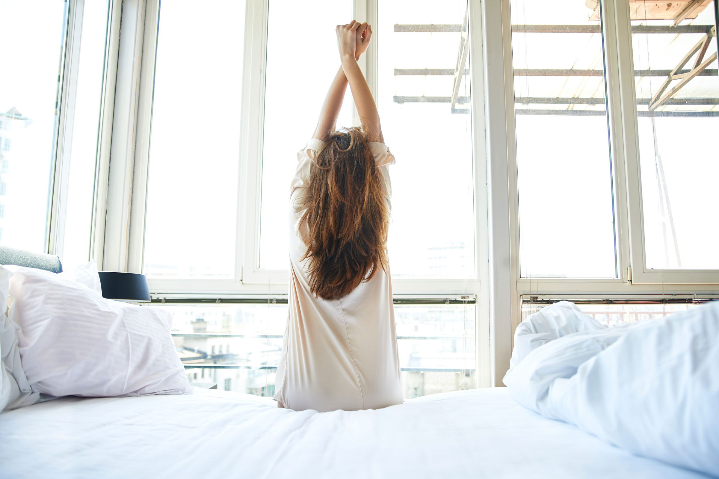 First thing in the morning, lie on your back with your head hanging over the edge of your bed.