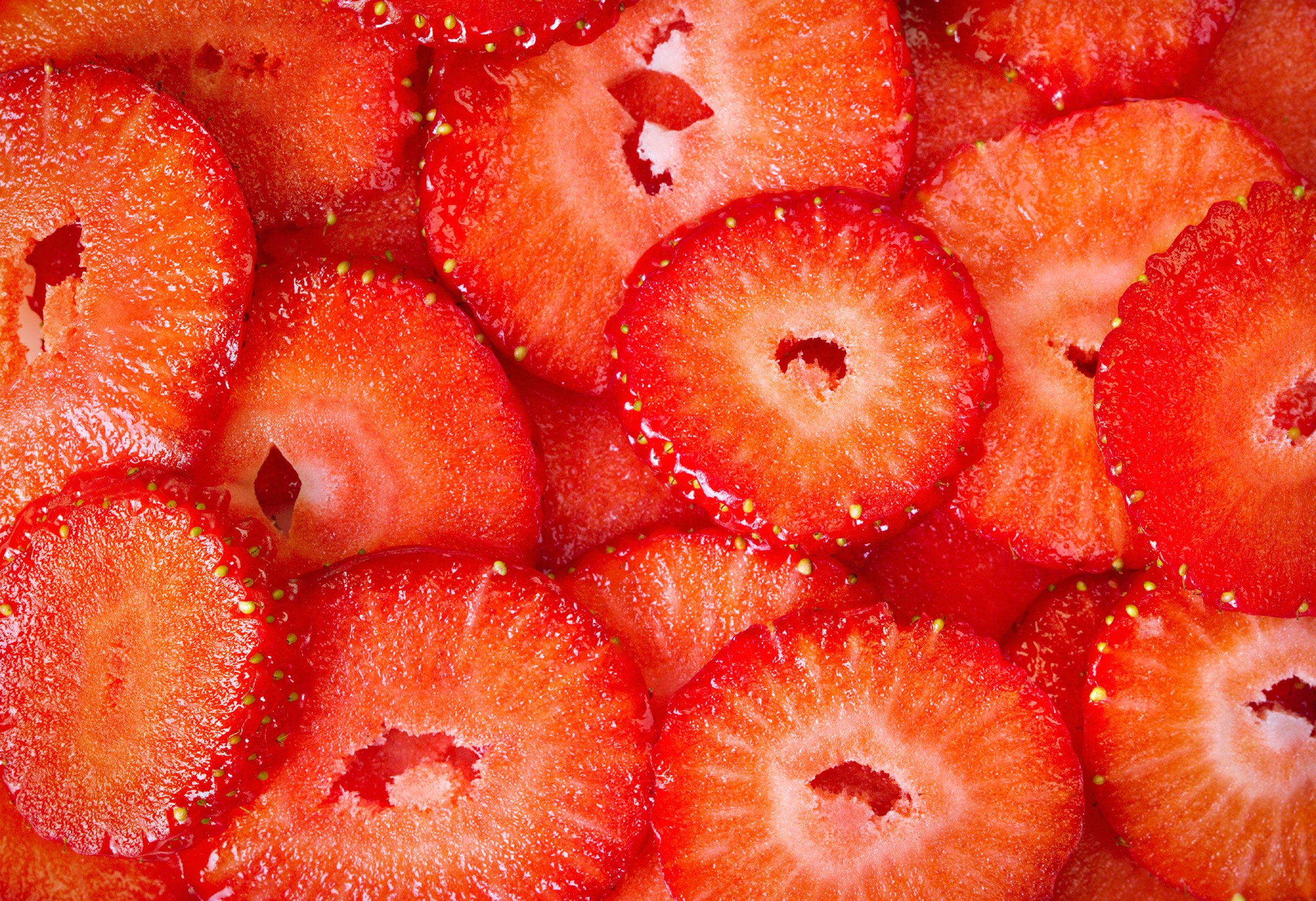Chop strawberries with an egg slicer