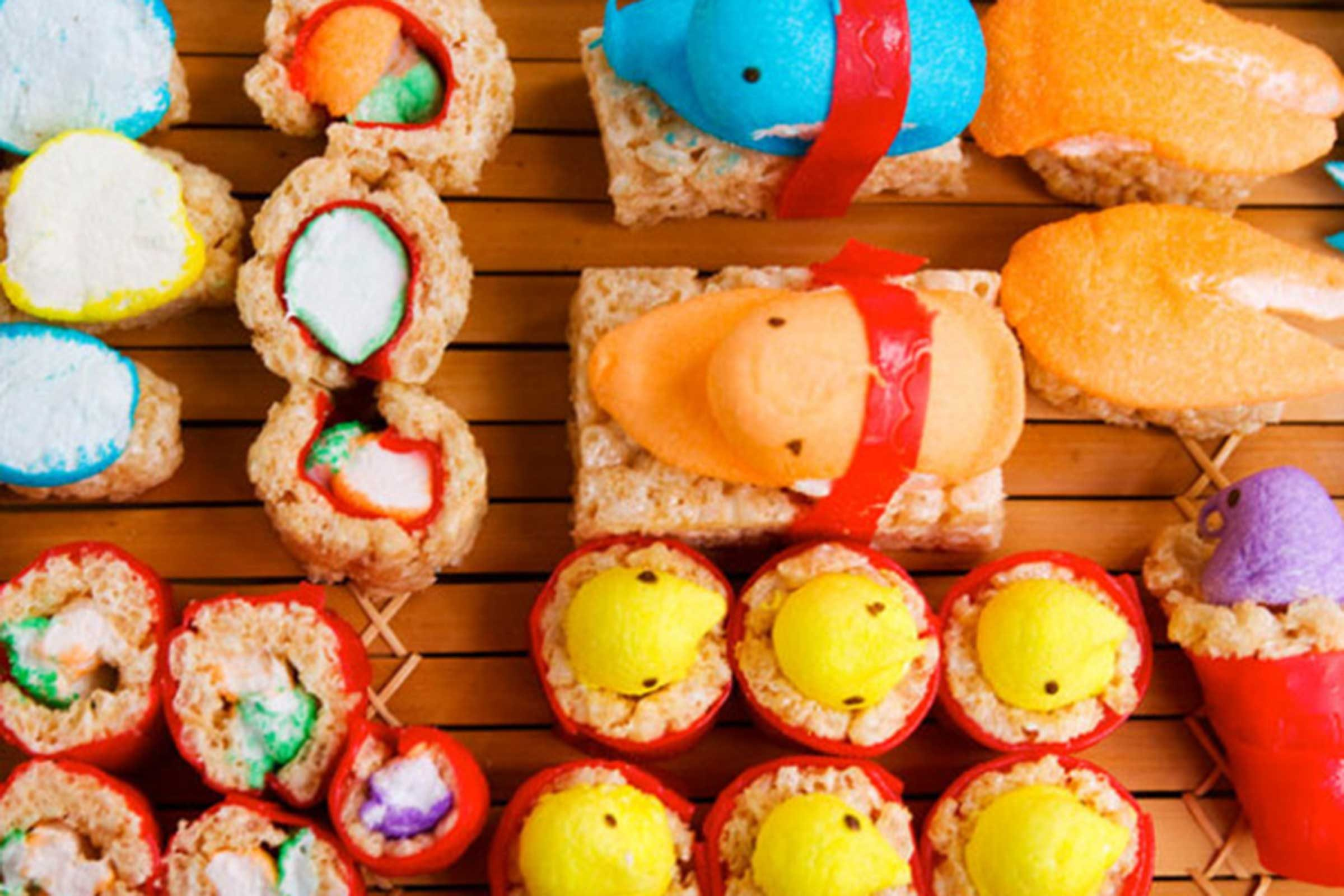 Easter crafts for seniors - Peep Sushi