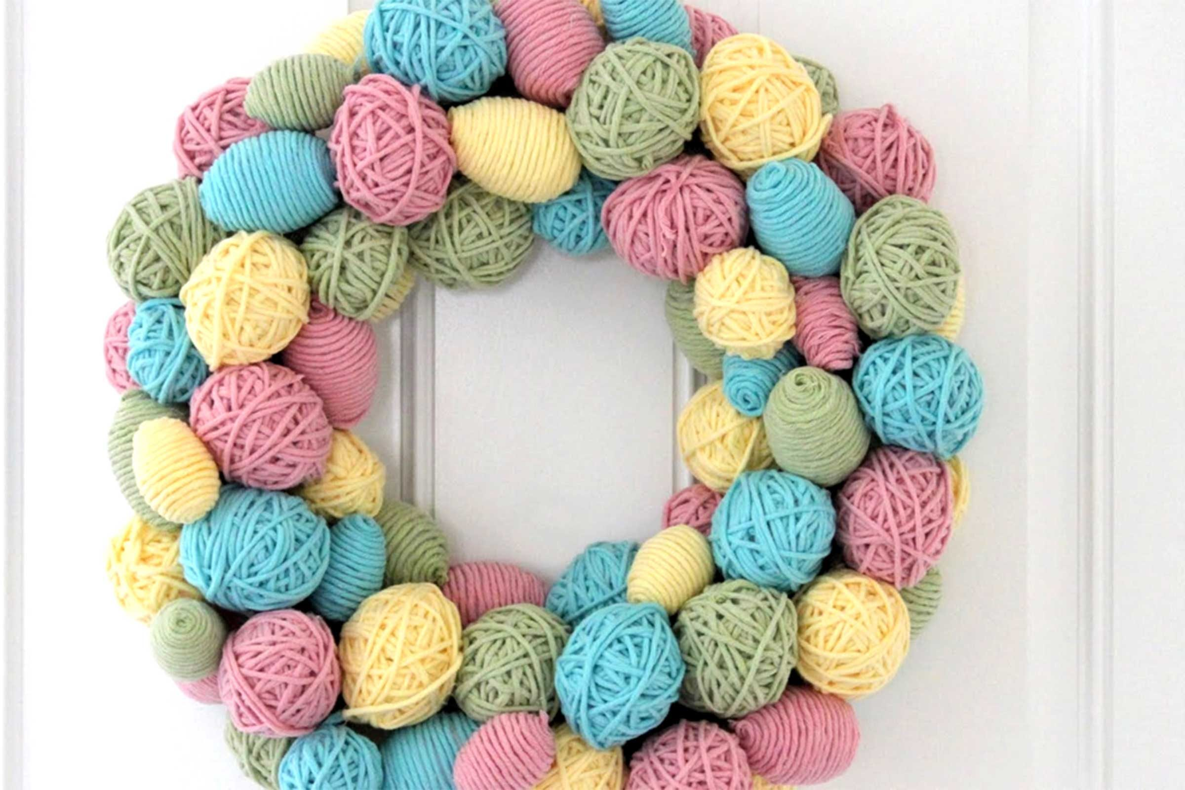 Yarn Easter Egg Wreath