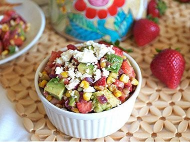 Strawberry, roasted corn, and avocado salsa appetizer