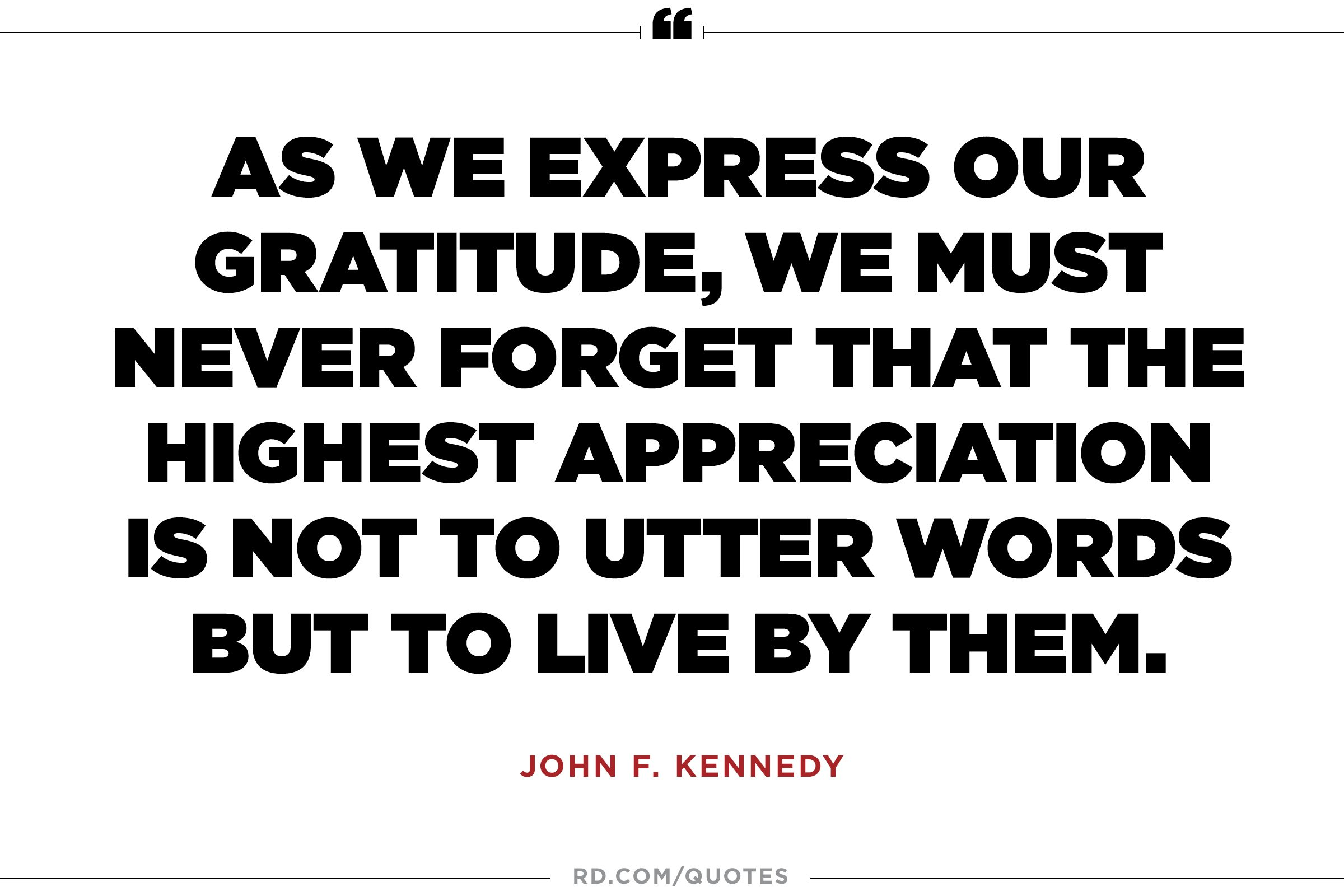 JFK on real gratitude