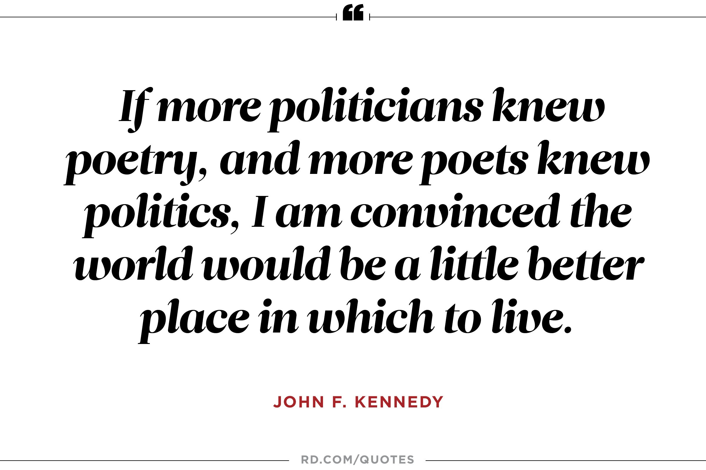 JFK on politics and poetry