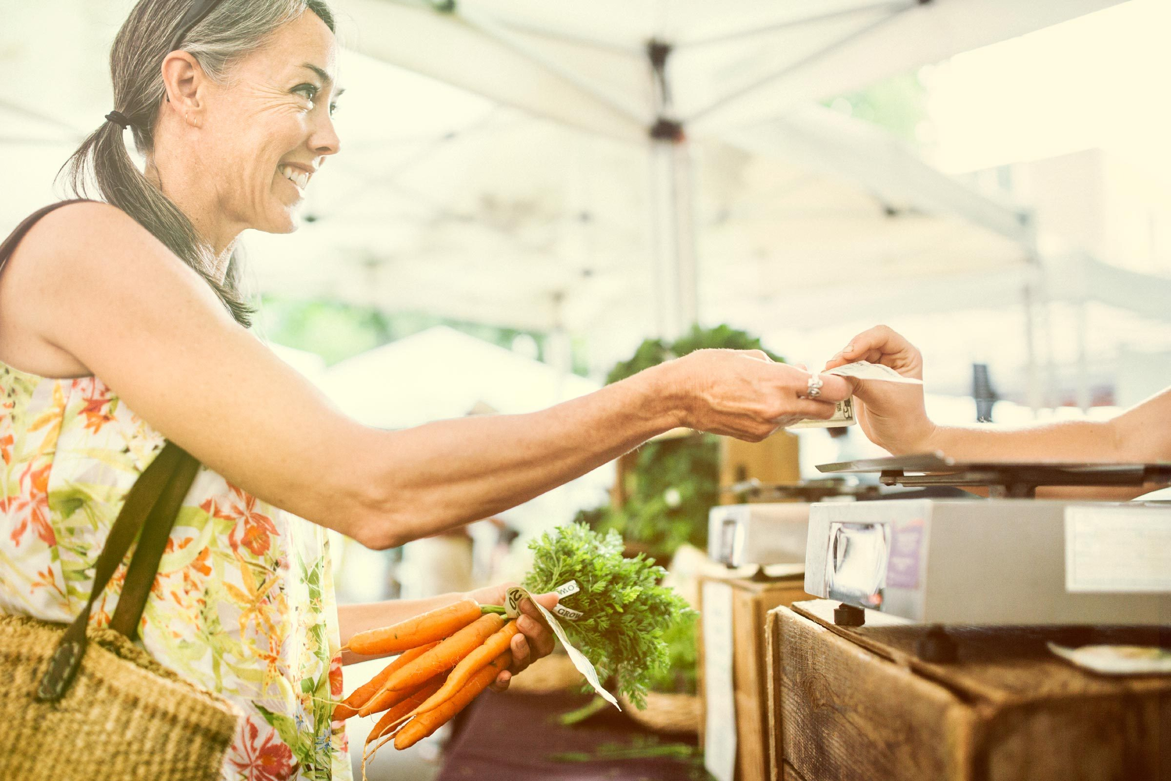 If you spend $100 at a farmers' market, $62 goes back into the local economy, and $99 out of $100 stays in the state