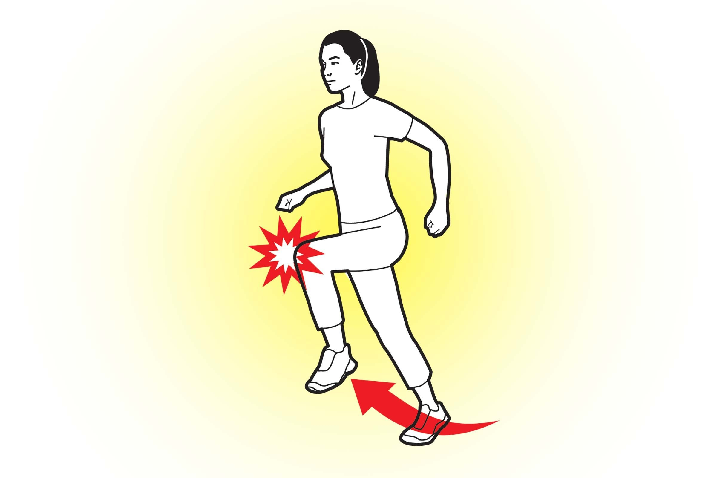 The stair-climb groin kick