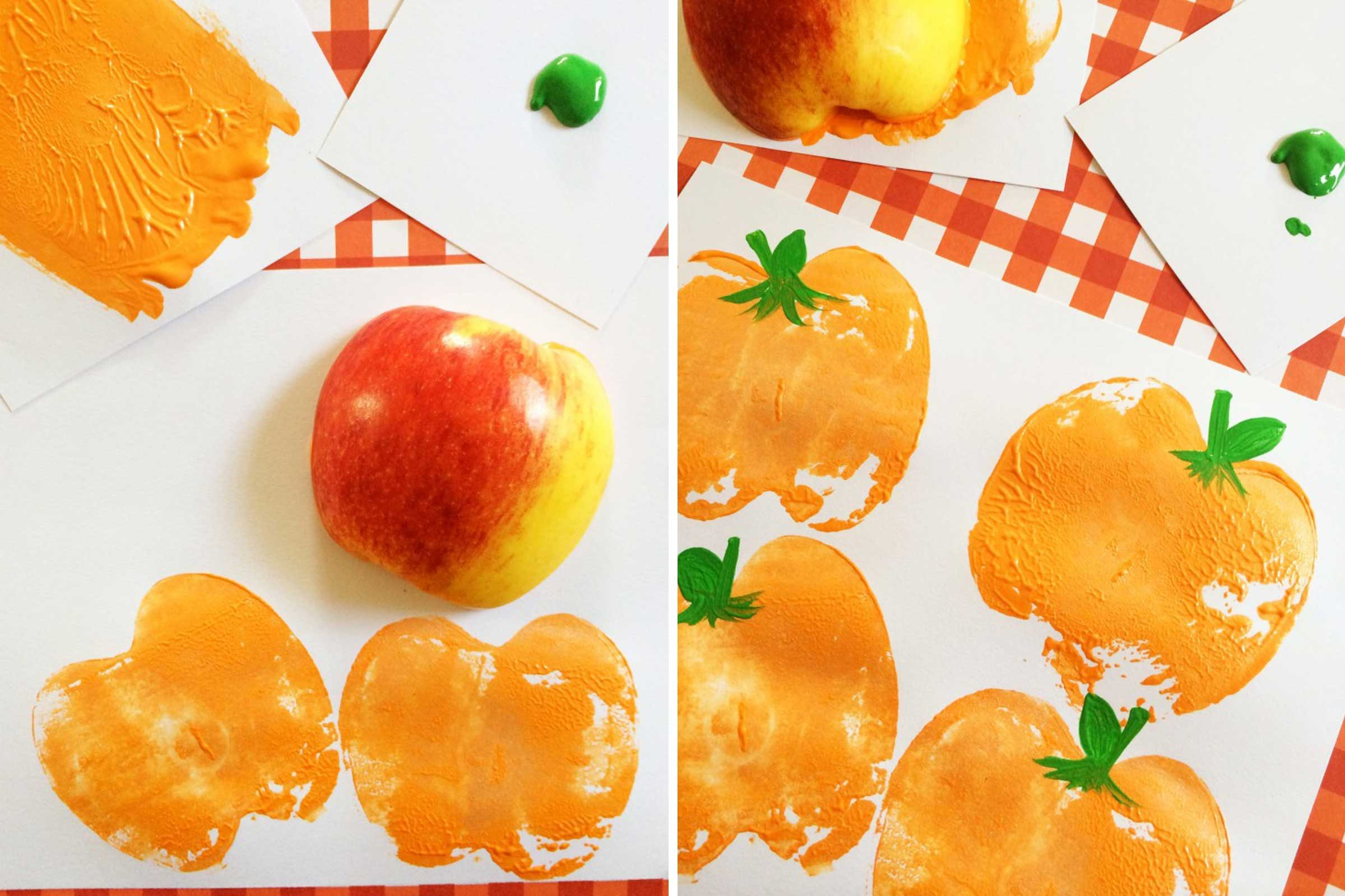 pumpkin apple stamps - Halloween Crafts For 8 Year Olds