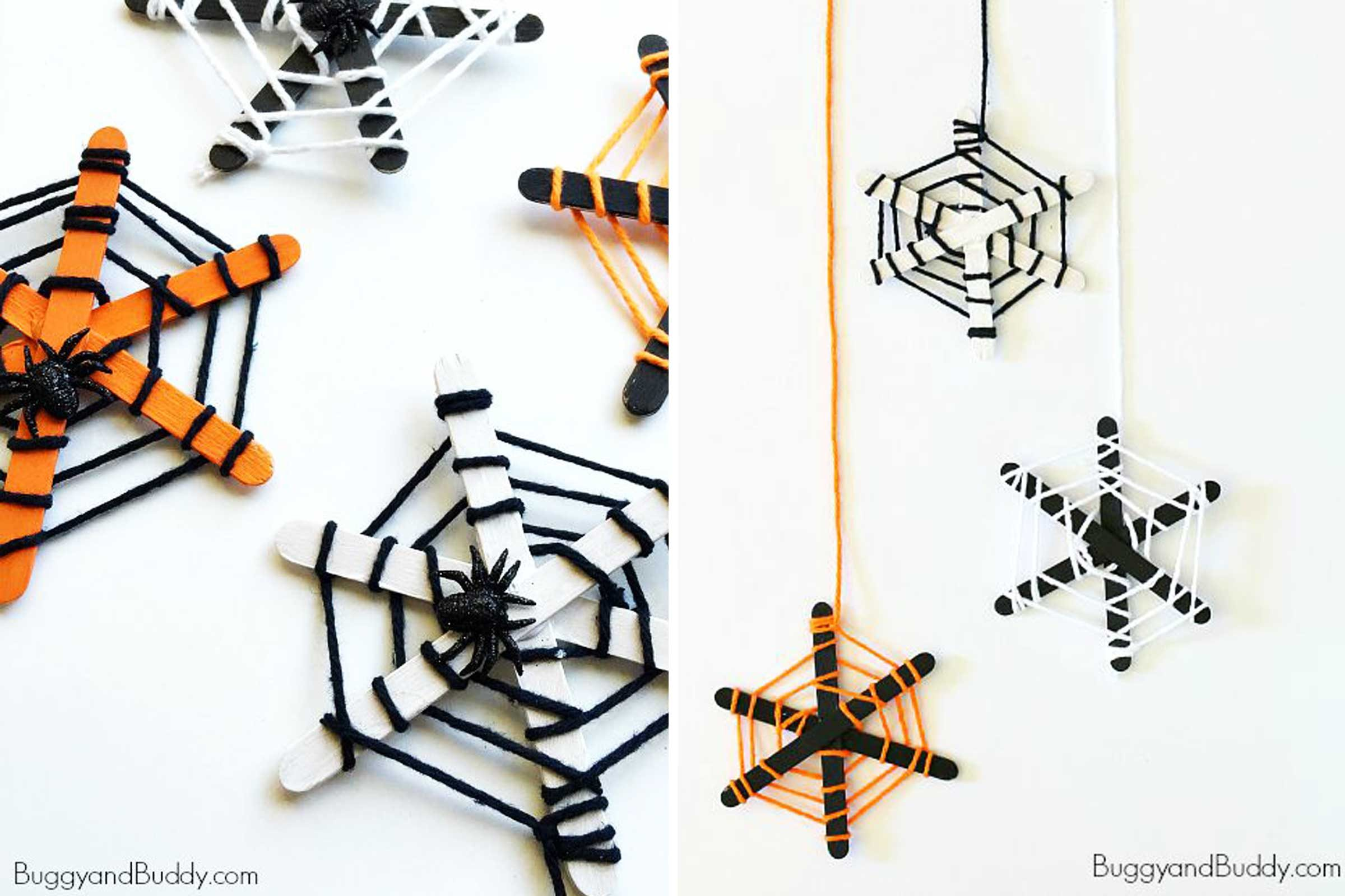 popsicle stick spider webs
