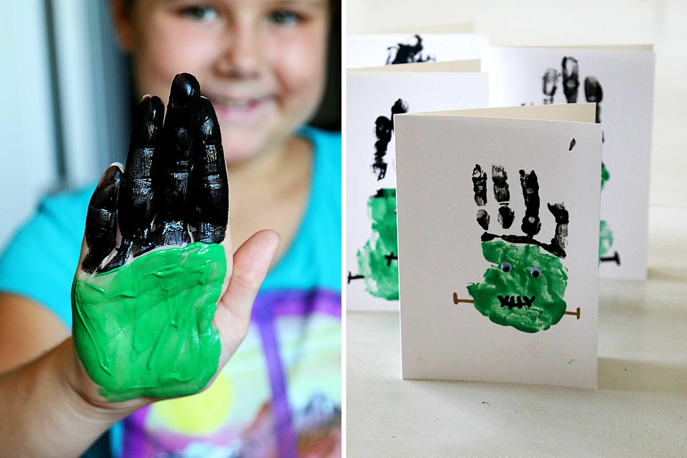 frankenstein handprint - Halloween Crafts For 8 Year Olds