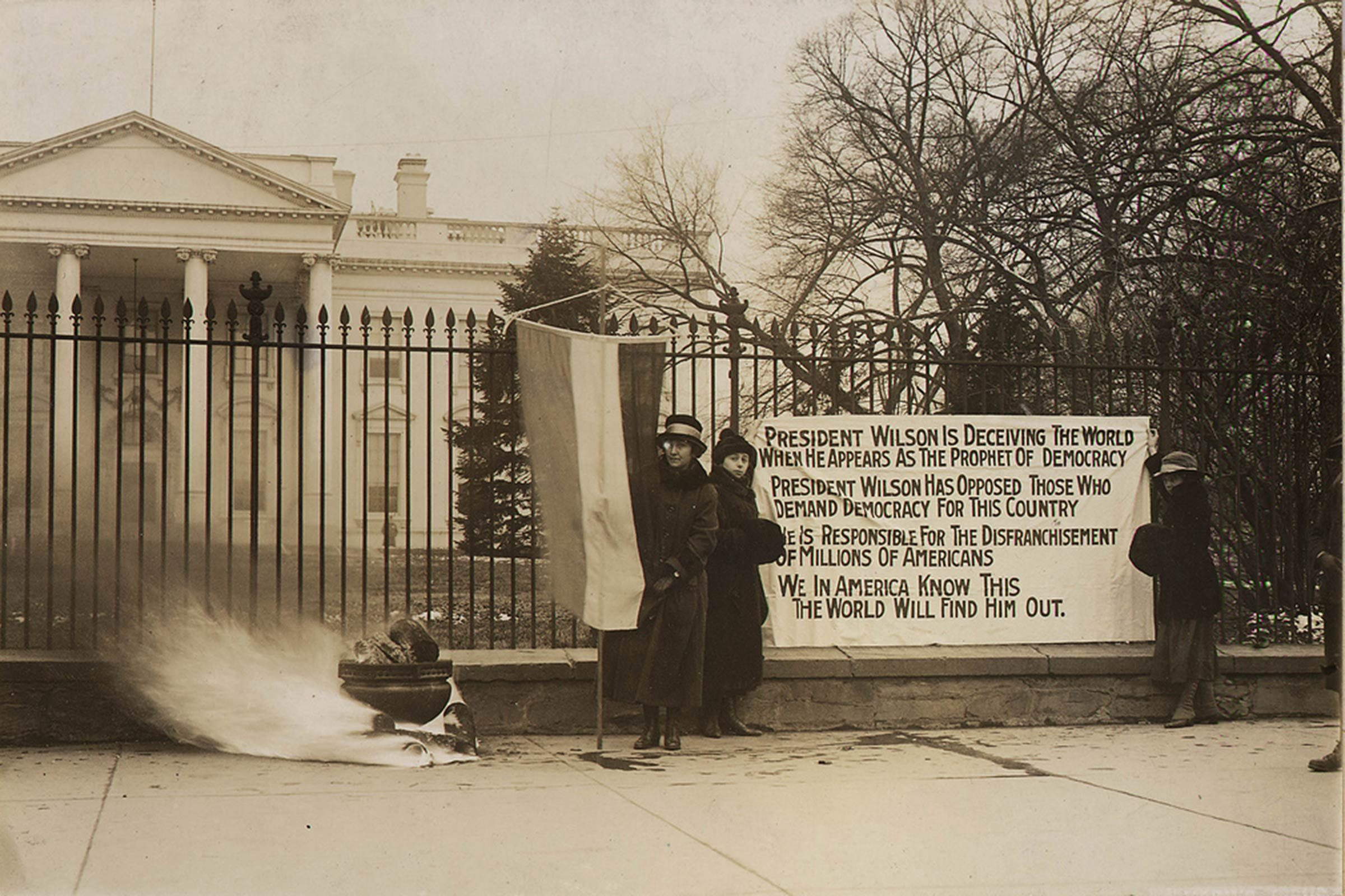 Suffragists protested outside the gates for two straight years