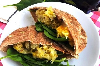 Cheesy-Egg-Breakfast-Pitas-with-Spinach-and-Sauerkraut