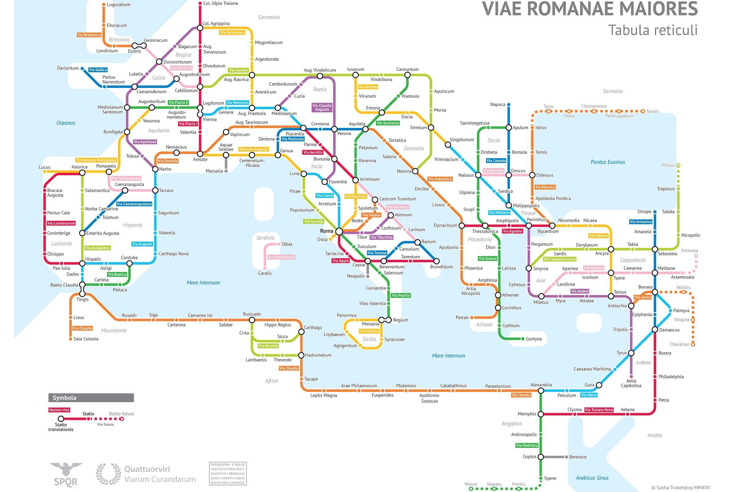 Carte des routes romaines - Courtoisie de Sasha Trubetskoy